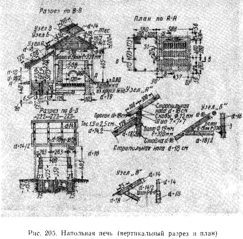 Рис. 20 б. Напольная печь (вертикальный разрез и план)