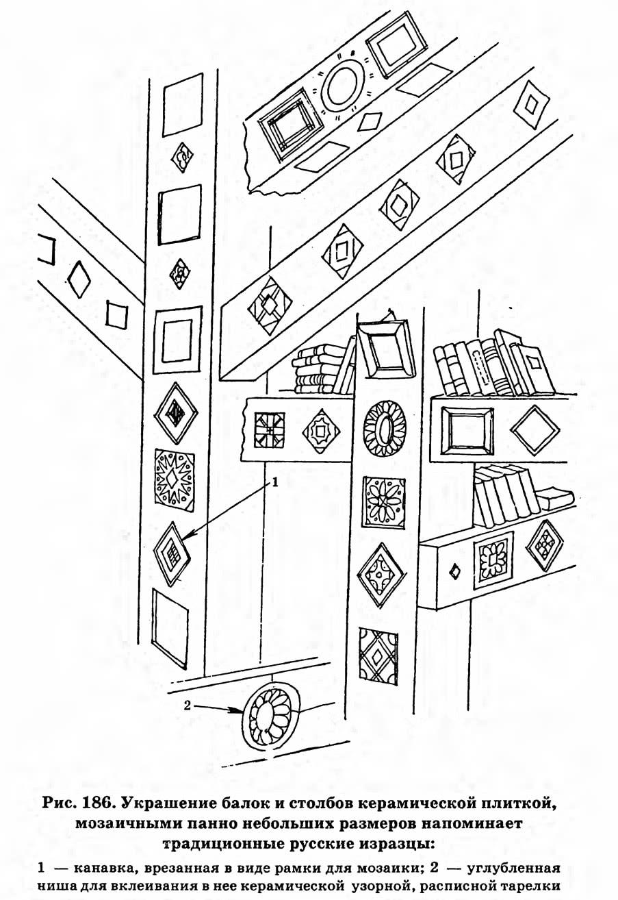 Рис. 186. Украшение балок и столбов керамической плиткой