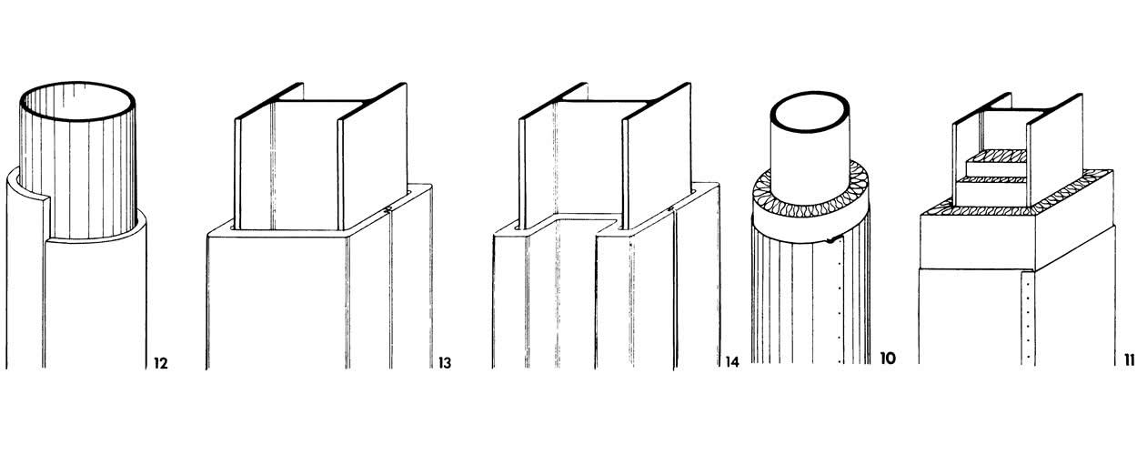 Рисунки 10-14. Облицовка обертыванием колонн
