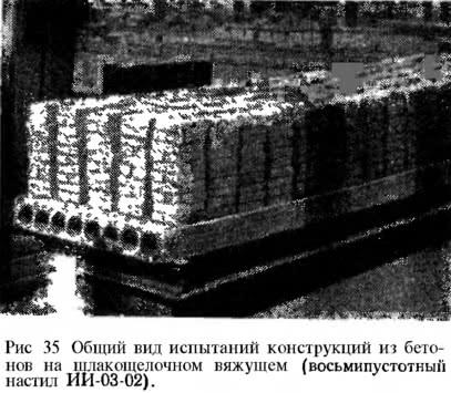 Рис. 35. Общий вид испытаний конструкций из бетонов на шлакощелочном вяжущем