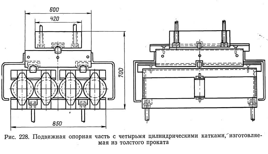 Рис. 228. Подвижная опорная часть с четырьмя цилиндрическими катками
