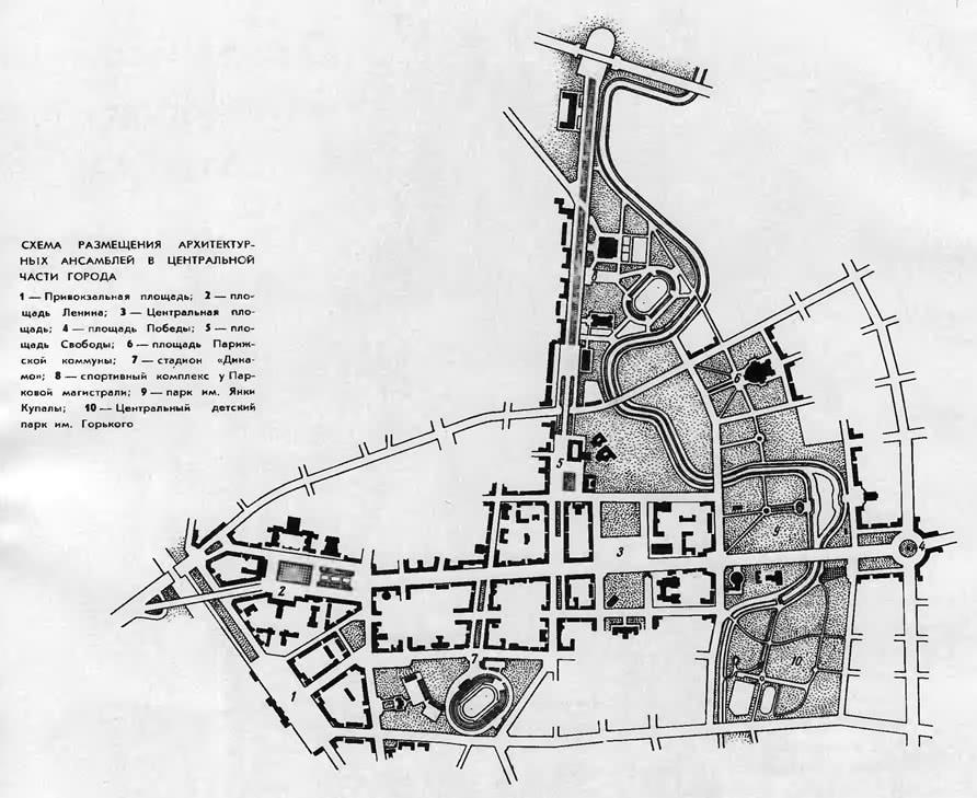 Схема размещения архитектурных ансамблей в центральной части города
