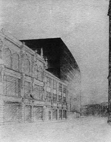 Сооружение в городе. Л. Мис ван дер Роэ. Рисунок, 1933