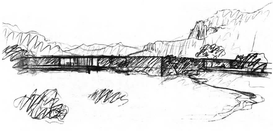 Дом в Альпах. Проект. Л. Мис ван дер Роэ, 1934