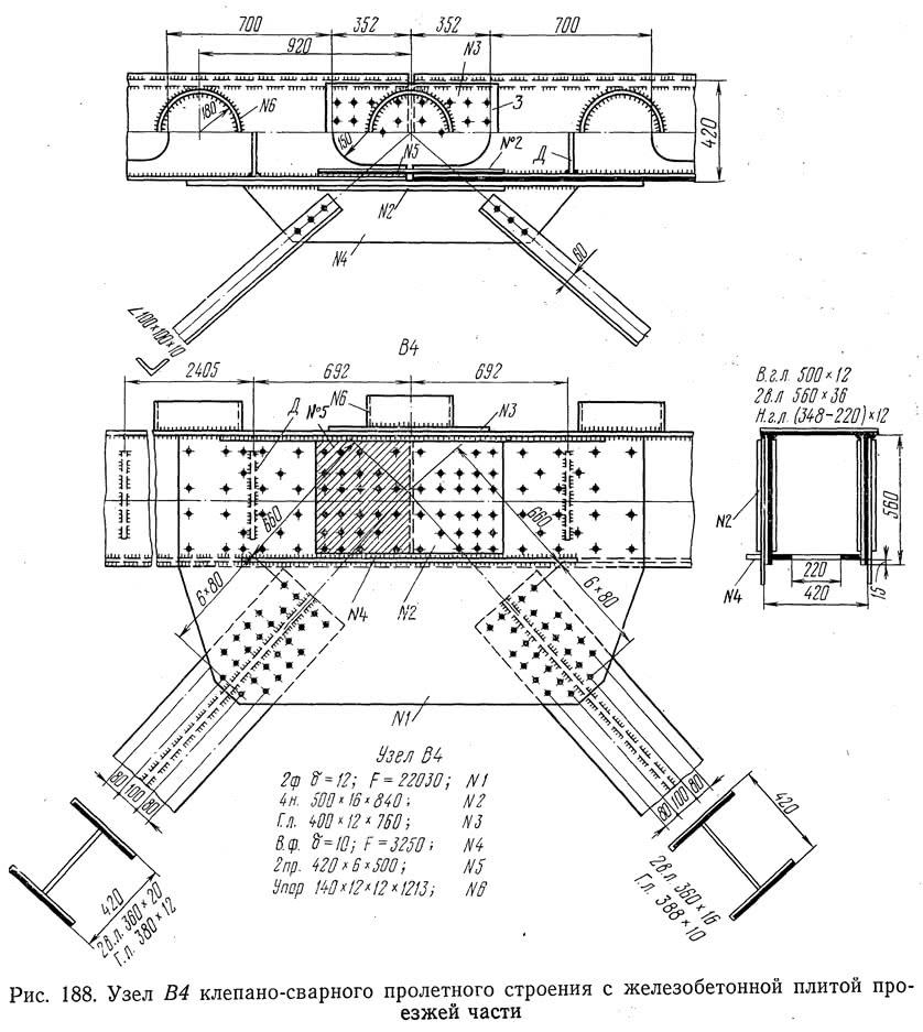 Рис. 188. Узел В4 клепано-сварного пролетного строения с ж/б плитой проезжей части
