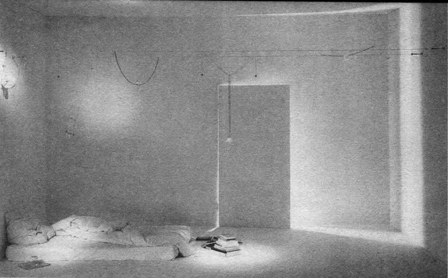Интерьер с кроватью и системой светильников Я-Я-ХО. И. Маурер, Германия, 1970