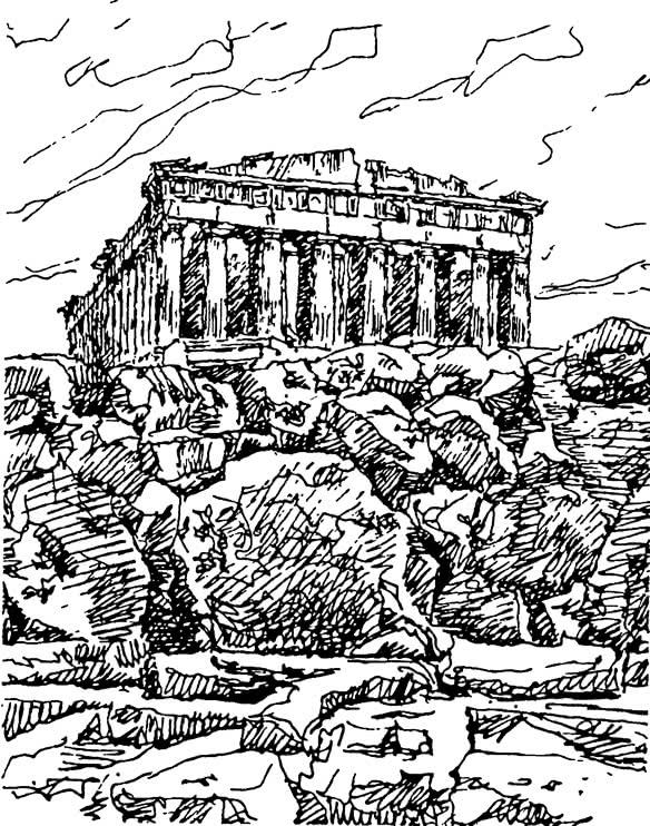 Афины. Акрополь. Парфенон. Рисунок