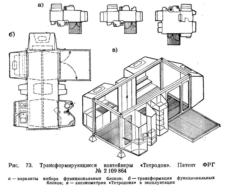 Рис. 73. Трансформирующиеся контейнеры «Тетродон»