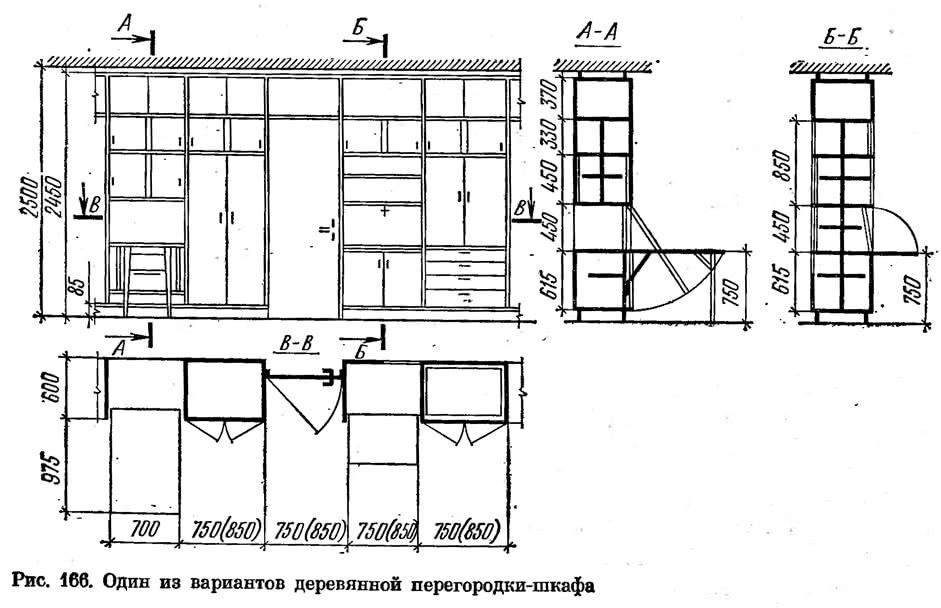 Рис. 166. Один из вариантов деревянной перегородки-шкафа