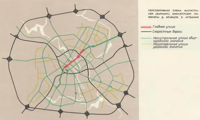 Перспективная схема магистралей (вариант). Минскпроект
