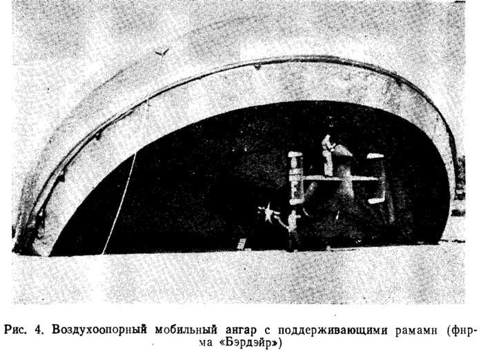 Рис. 4. Воздухоопорный мобильный ангар с поддерживающими рамами
