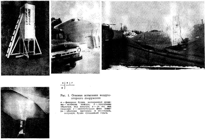 Рис. 1. Огневые испытания воздухоопорного сооружения