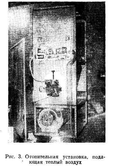 Рис. 3. Отопительная установка, подающая теплый воздух