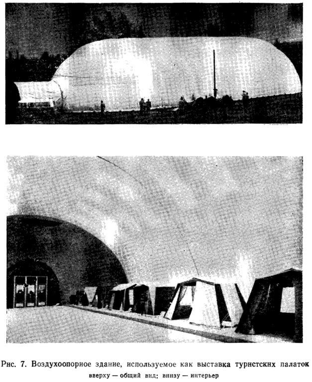 Рис. 7. Воздухоопорное здание, используемое как выставка туристских палаток