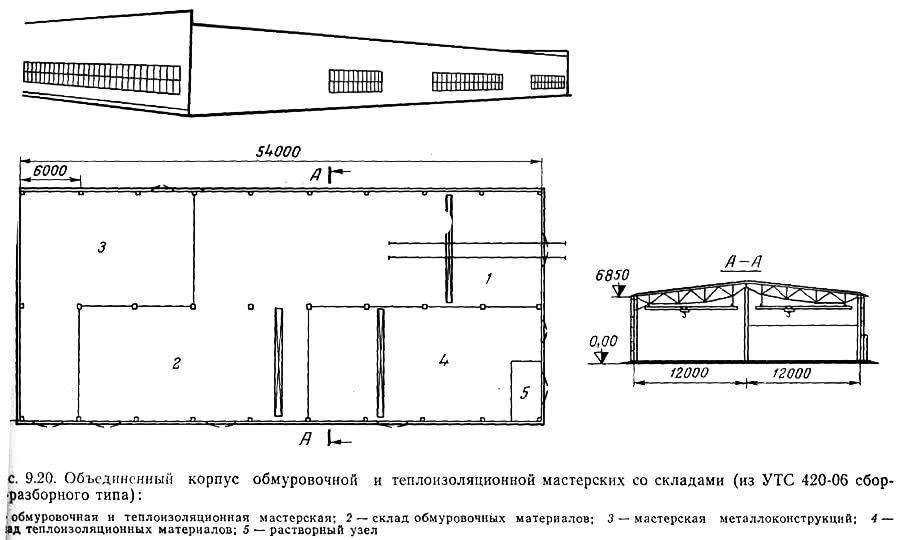 Рис. 9.20. Объединенный корпус обмуровочной и теплоизоляционной мастерских со складами