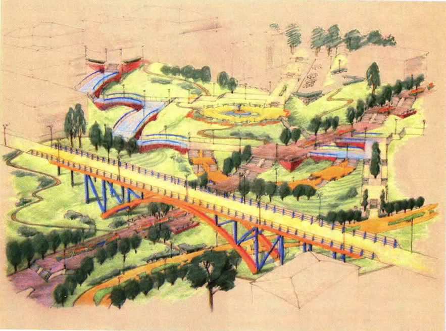 Проект парковой зоны, выполненный в технике пастели по цветной бумаге