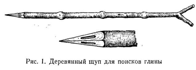 Рис. 1. Деревянный щуп для поисков глины