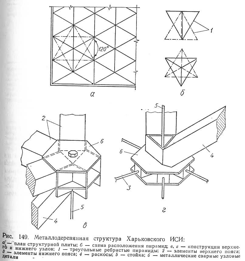 Рис. 149. Металлодеревянная структура Харьковского ИСИ