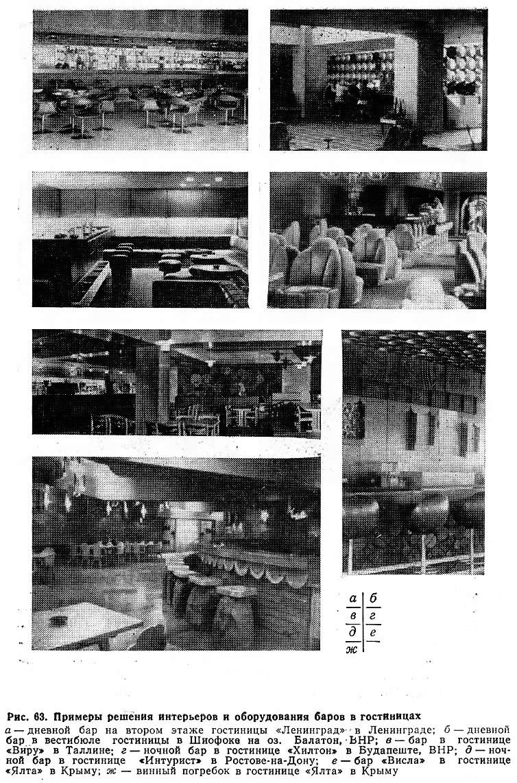Рис. 63. Примеры решения интерьеров и оборудования баров в гостиницах