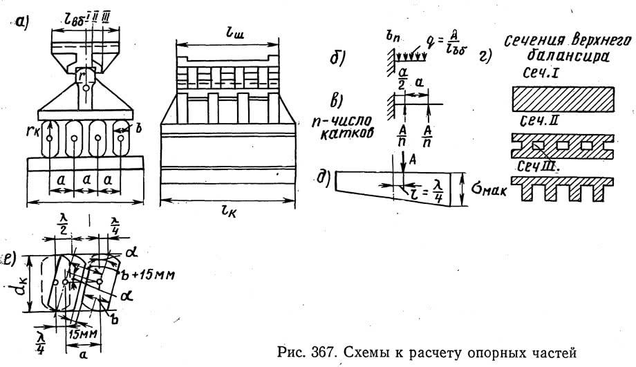 Рис. 367. Схемы к расчету опорных частей