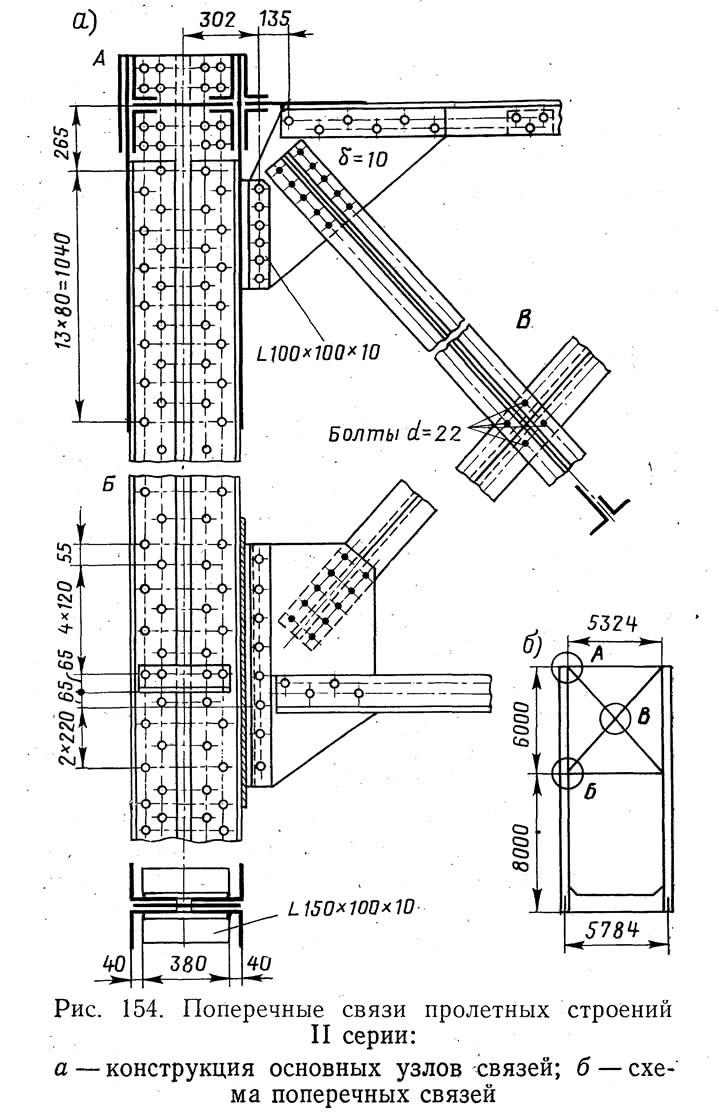 Рис. 154. Поперечные связи пролетных строений II серии