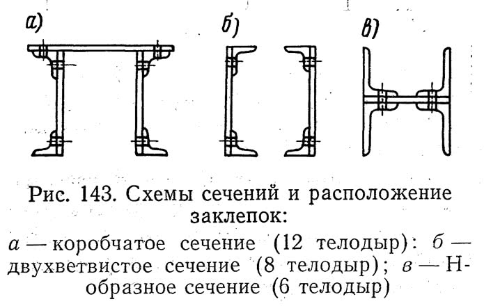 Рис. 143. Схемы сечений и расположение заклепок
