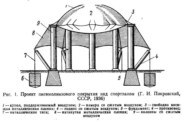 Рис 1. Проект пневмолинзового покрытия над спортзалом