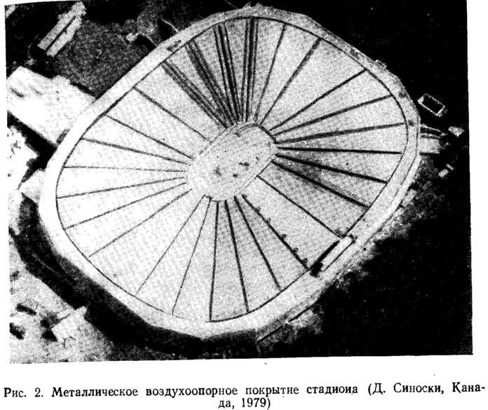 Рис. 2. Металлическое воздухоопорное покрытие стадиона