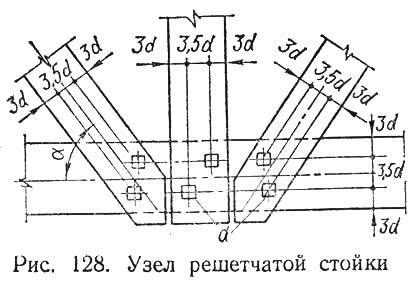 Рис. 128. Узел решетчатой стойки
