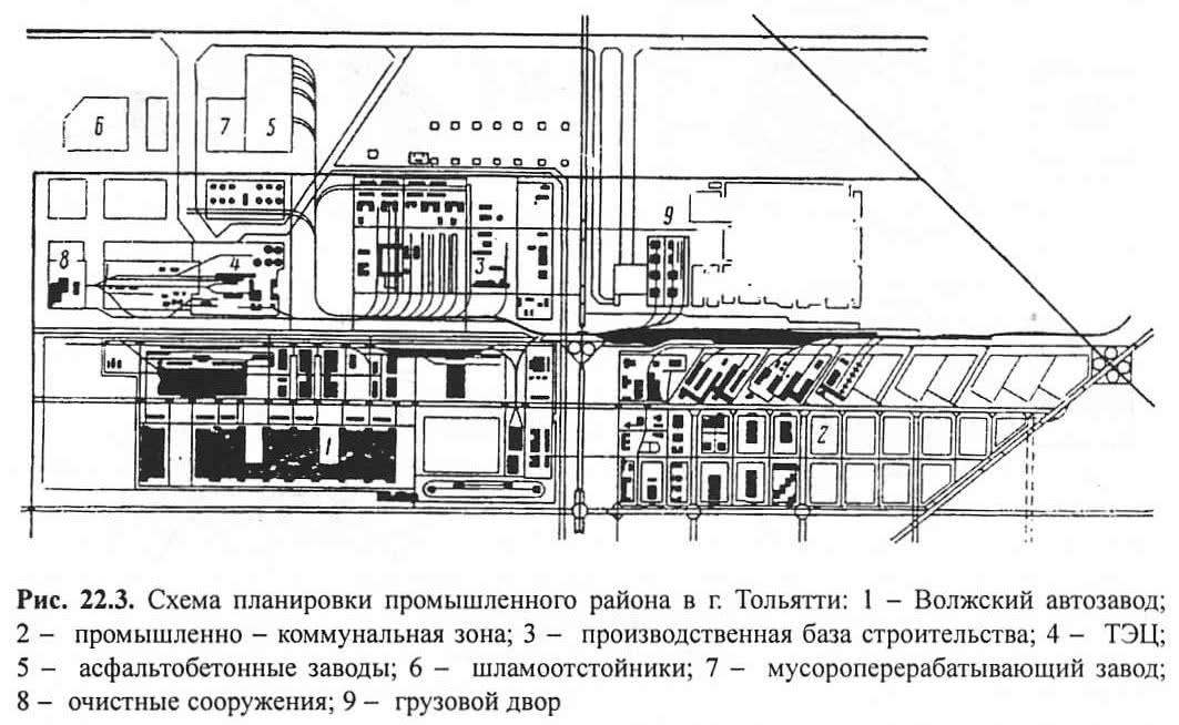 Рис. 22.3. Схема планировки промышленного района в г. Тольятти