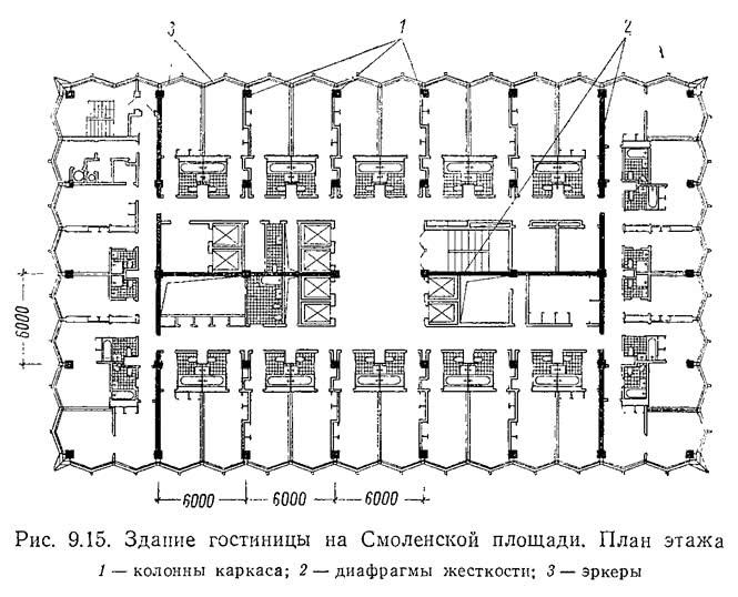Рис. 9.15. Здание гостиницы на Смоленской площади. План этажа
