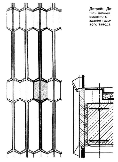 Детройт. Деталь фасада высотного здания газового завода