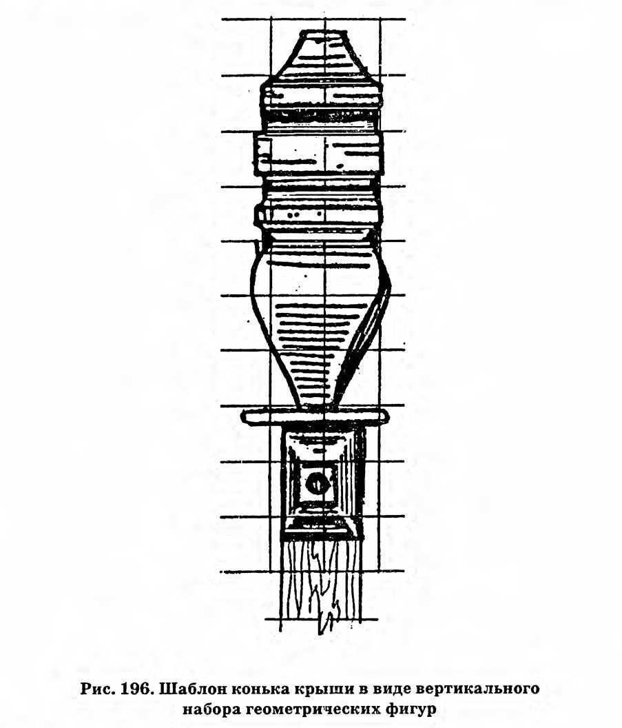 Рис. 196. Шаблон конька крыши в виде вертикального набора геометрических фигур