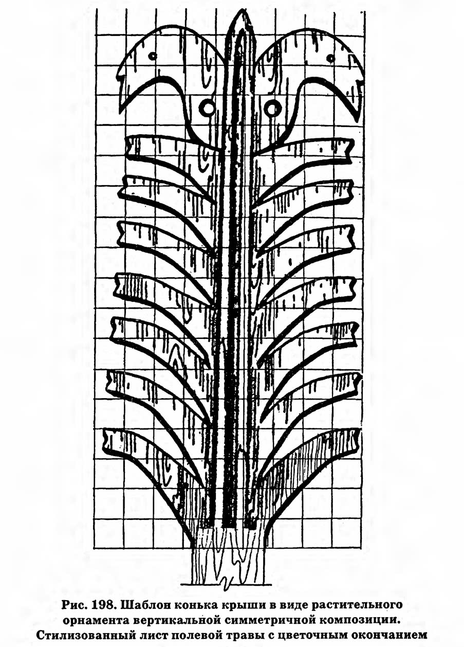 Рис. 198. Шаблон конька крыши в виде растительного орнамента