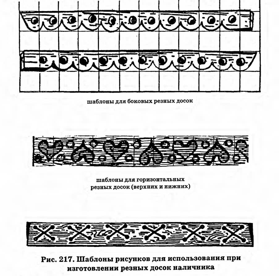 Рис. 217. Шаблоны рисунков для использования при изготовлении резных досок наличника