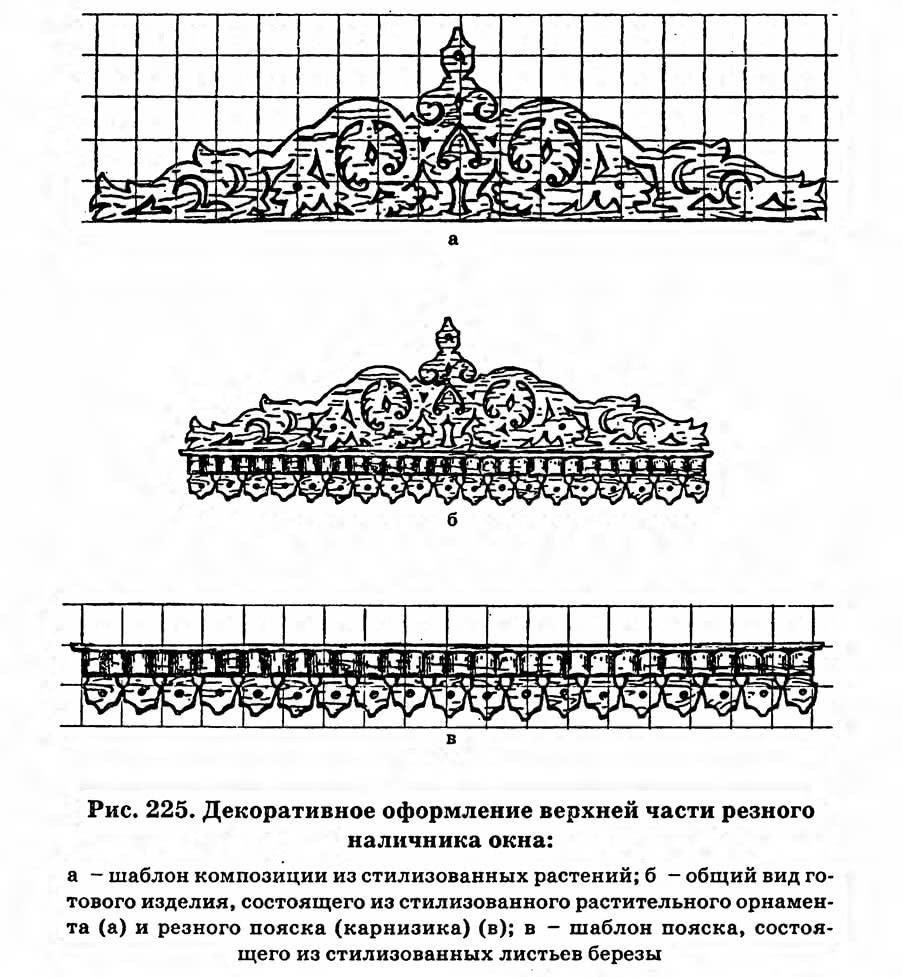 Рис. 225. Декоративное оформление верхней части резного наличника окна