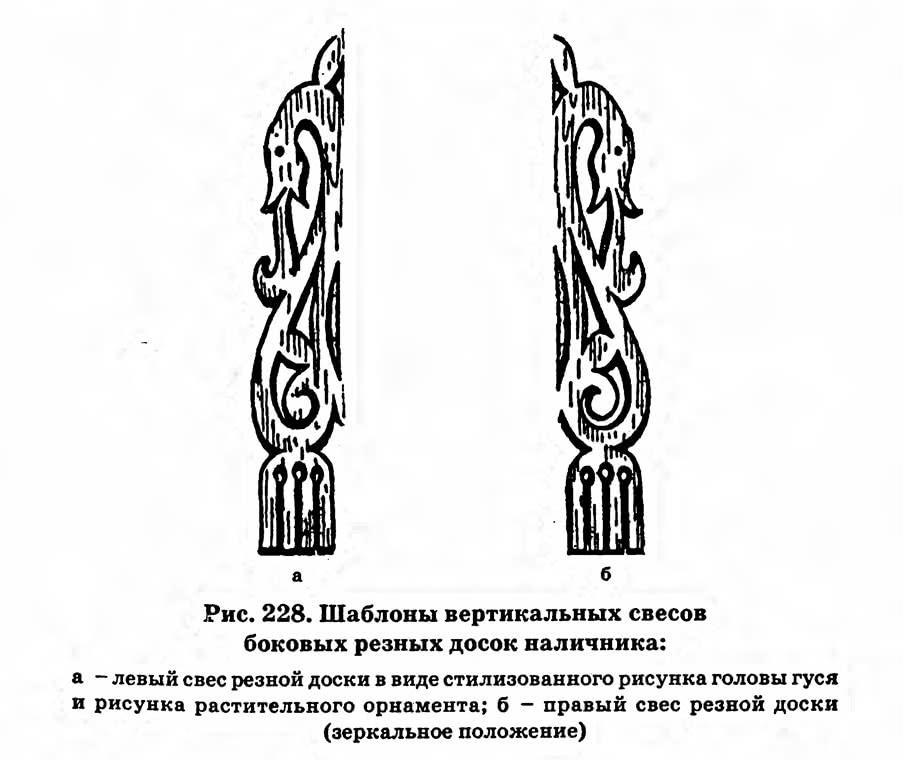 Рис. 228. Шаблоны вертикальных свесов боковых резных досок наличника