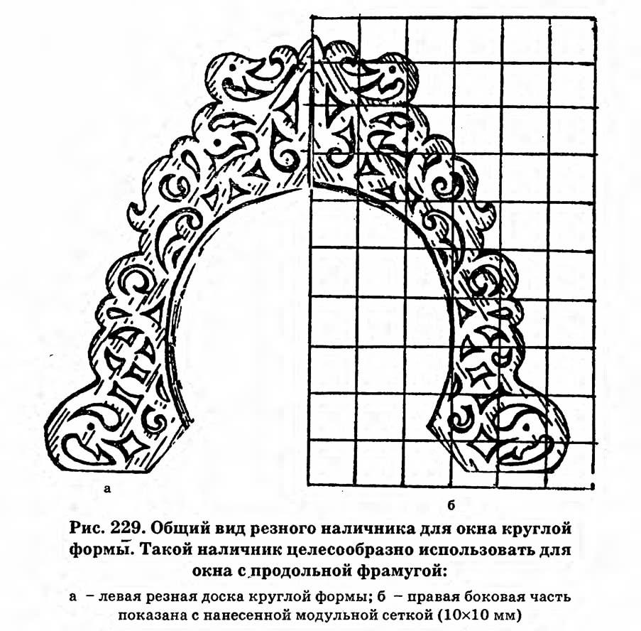 Рис. 229. Общий вид резного наличника для окна круглой формы