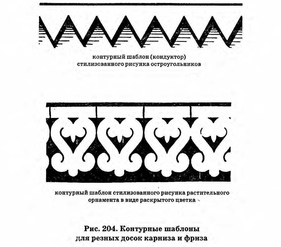 Рис. 204. Контурные шаблоны для резных досок карниза и фриза
