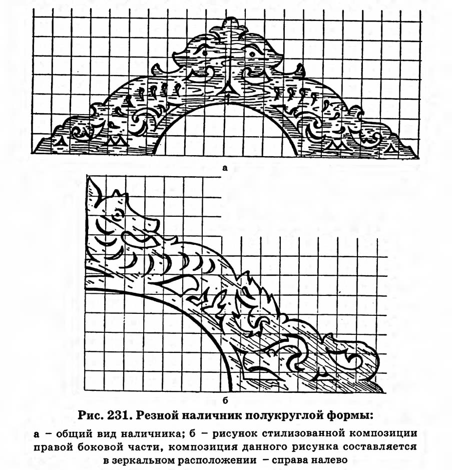 Рис. 231. Резной наличник полукруглой формы