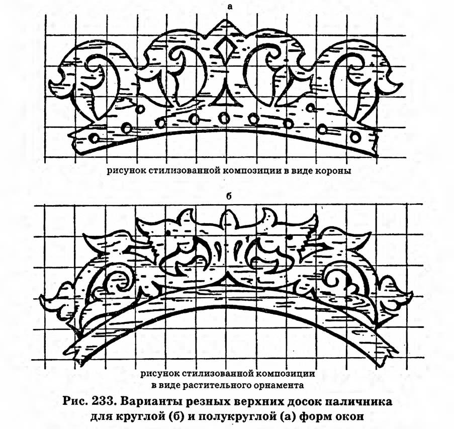 Рис. 233. Варианты резных верхних досок наличника для круглой и полукруглой форм окон