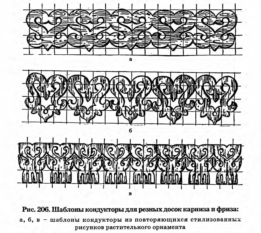 Рис. 206. Шаблоны кондукторы для резных досок карниза и фриза