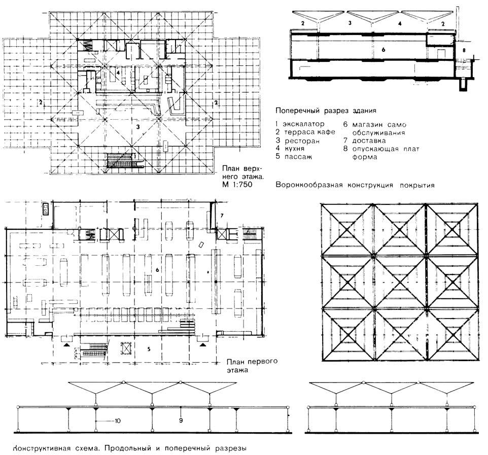 План и поперечный разрез здания