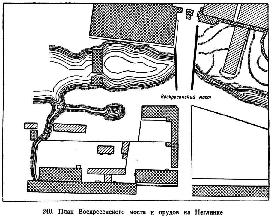 240. План Воскресенского моста и прудов на Неглинке