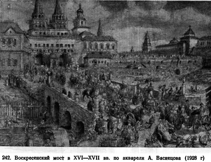 242. Воскресенский мост в XVI—XVII вв. по акварели А. Васнецова
