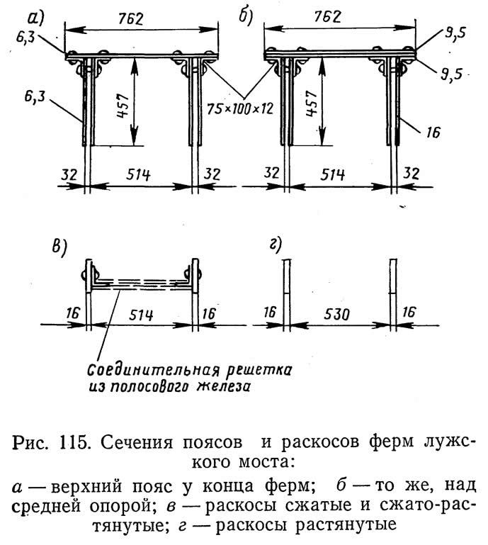 Рис. 115. Сечения поясов и раскосов ферм лужского моста