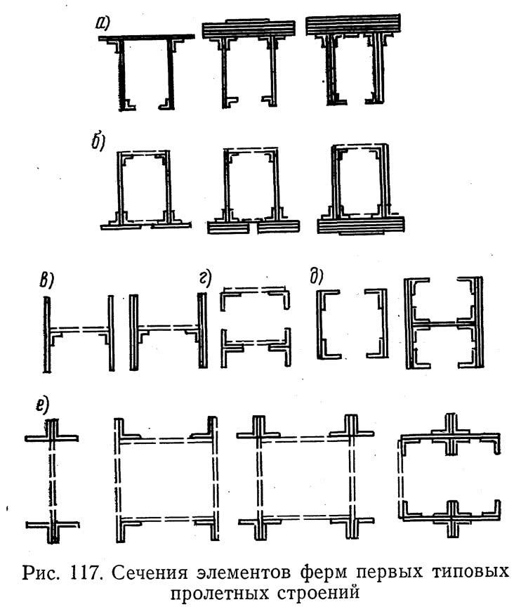Рис. 117. Сечения элементов ферм первых типовых пролетных строений