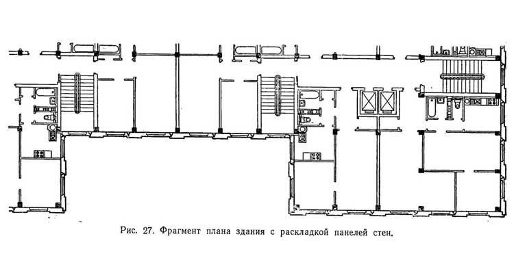 Рис. 27. Фрагмент плана здания с раскладкой панелей стен