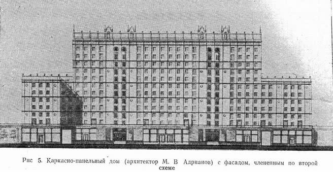 Рис 5. Каркасно-панельный дом с фасадом, члененным по второй схеме