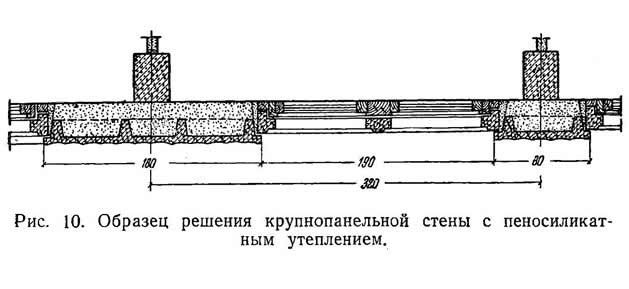 Рис. 10. Образец решения крупнопанельной стены с пеносиликатным утеплением